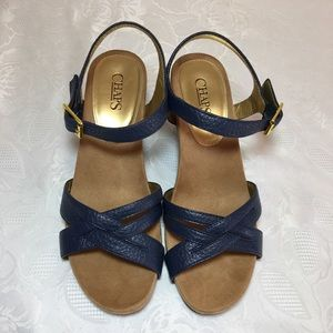 💕🌸 CHAPS REINE wedge sandals blue size 9.5